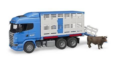 Bruder 03549 Scania z kontenerem do przewozu zwierząt i figurką